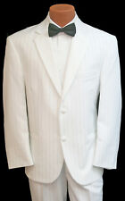 Men's White Pinstriped Tuxedo With Pants Prom Wedding Formal 43l