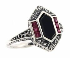 Art Deco Style Black Onyx - Ruby and Diamond Filigree Ring, Size 6, 7 or 8