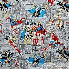 BonEful Fabric FQ Cotton Quilt Gray Wonder Woman Batgirl Super Hero Supergirl US