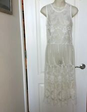 Gypsy made in Hollywood White See-Through Mesh Lace Dress Size Small S