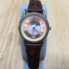 Vintage LA Express Lady Moon Phase Analog Quartz Watch Hours~Date~New Battery
