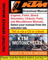 KTM Engine, Fork, Shock Absorber, Miscellenous, Repair Workshop (PDF) Manual