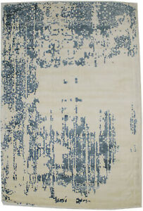 Muted Slate Blue Distressed Floral 4X6 Hand-Loomed Modern Rug Room Decor Carpet