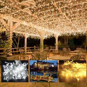 Mains Plug in String Fairy Lights 100-500 LED Garden Outdoor Indoor Home Lights