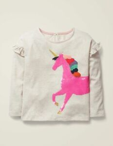 MINI BODEN Unicorn Top Pink Sequin Embroidered Cotton Frilly Sleeve T-shirt NEW