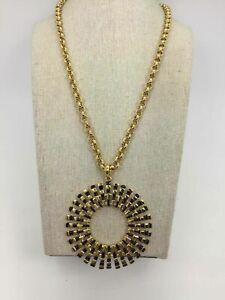 Trina Turk Yellow Goldtone Black Inlay Medallion Chain Link Necklace
