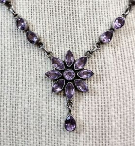 Cut Amethyst Gemstone Sterling Silver Collar Necklace with Floral Pendant