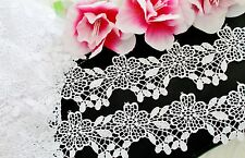 White flower lace trim with amazing design - selling by the yard