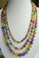 "Fashion charming Noblest Multicolor 6-10mm 3row Tourmaline Necklace 17-19"" PN237"