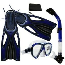 Adult Snorkeling Dive Mask Dry Snorkel Fins Gear Set