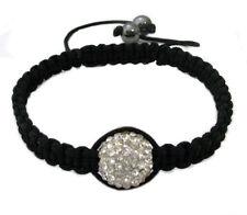 Black Macrame 14MM Crystal Bead Shamballa Adjustable Bracelet