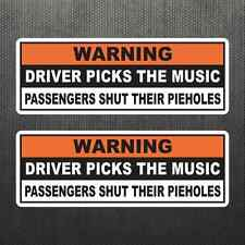 Driver Picks Music Funny Warning Sticker Vinyl Decal Car Dashboard Sticker Jeep