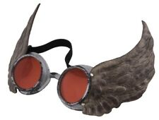 Winged Victorian Cyber Steampunk Aviator Flight Goggles Silver Red Burning Man