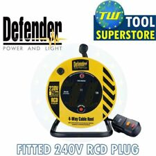 Defender puissance câble 240V bobine 20M 13A 4-gang socket extension 1.25mm plomb + rcd