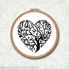 Black and White Silhouette Tree in a Heart Shape Counted Cross Stitch Pattern