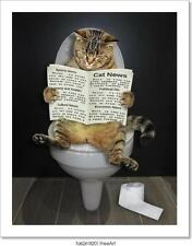 Cat With A Newspaper On The Toilet Art Print Home Decor Wall Art Poster
