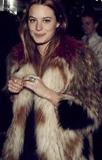 Vintage 60s Fox Fur Convertible Cape Coat Jacket Feather Boho Chevron Poncho Xs