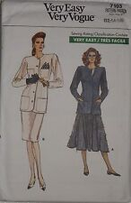 Vogue 7103 Sewing Pattern Misses Loose Fitting Unlined Jacket Skirts 12 14 16 UC