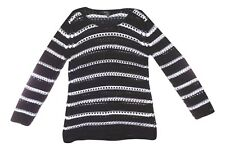 Alfani Size Small Black White Striped Open Crochet Long Sleeve Sweater NEW