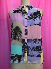 Sheer Forever21 Multi Coloured Palm Trees Sleeveless Shirt Blouse Size 12