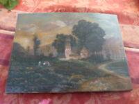 ancien==peinture sur bois paysage=chateau sous bois  et enfants jouant