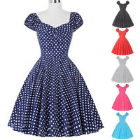 Vintage Style 1950S Swing Pin up Polka dots Evening Dresses Plus Size