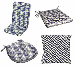 Blue Chair Pad or Cushion Cover Water Resistant Outdoor Geometric Garden Dining