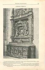 Le retable Eglise Collégiale de Saint-Vulfran d'Abbeville GRAVURE OLD PRINT 1892