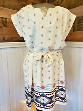 Stitch Fix Collective Concepts Ivory/Navy Round neck Dress with Border Print