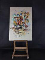 """Hst peinture rehaussée  toile (69x46) vintage """"Tricycle"""" signature à identifier"""