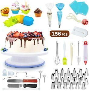156 PCS Cake Decorating Kit Tools Set Baking Supplies Turntable Spatula Stand