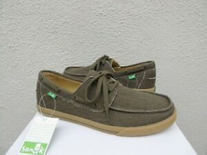 SANUK THE SEA MAN ARMY GREEN SIDEWALK SURFER LACE-UP BOAT SHOES, US 8/ 41  ~NWT