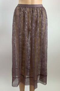 Victoria's Secret Elastic Waistband Floral Lace Sheer Skirt - Brown - L - NWT
