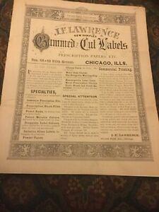 Ca 1890 J.F. Lawrence Gummed And Cut Labels Prescription Papers Etc New Samples
