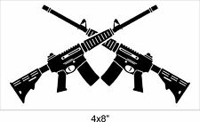 "TACTICAL sticker Crossed Guns AR15 .556 gun cut Vinyl Decal 4x8"" MATTE BLACK"
