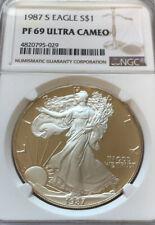 1987-S American Silver Eagle 1 oz .999 Fine, Silver Dollar NGC PF69 Ultra Cameo!