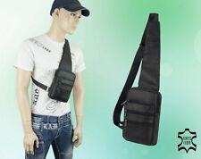 Herren Tasche Leder Umhängetasche Brusttasche Schulter Schwarz 15 * 20 * 6 cm