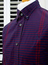 Fred Perry Navy/Red Striped Button-Down Shirt - L - Ska Mod Scooter Casuals Rare
