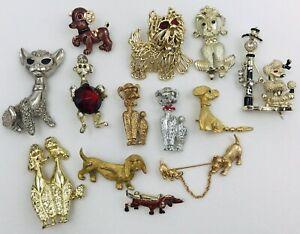 Vintage Dog Poodle Animal Novelty Pin Brooch Lot Rhinestone Enamel Bobble