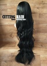 CUTTING HAIR - Sexy Jet Black Perfect Layers XL Long Wavy 3/4 Wig Half Wig 017-1