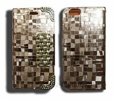 Leather Wallet Flip Case W Card Slots For iPhone 6/6S Gold Metal Bling