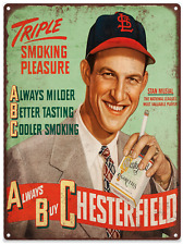 1947 Stan Musial Chesterfield Advertising Metal Reproduction Sign 9x12 60079