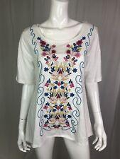 NWT CAITE White Embroidered Sadie Top Small Floral Scoop Cotton Slub Jersey