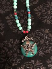 Green Bead Ethnic Necklace Silver Tone Metal Butterfly Detail