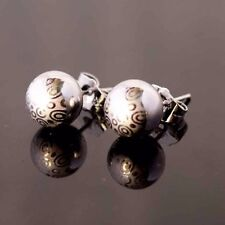 18k White Gold Filled Earrings 10mm Ball Bead Stud GF Fashion Jewelry Charm Gift