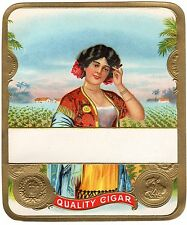 CIGAR BOX LABEL VINTAGE OUTER STONE LITHOGRAPHY STOCK EMBOSSED CUBAN GIRL C1910