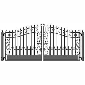 ALEKO Venice Style Ornamental Iron Wrought Dual Driveway Gate 16' High Quality
