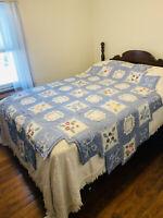 "Vintage Hand Sewn Quilt 98"" Coverlet Crochet Applique' Handmade Shabby Chic Blue"