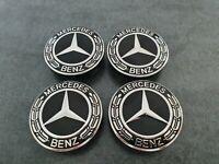 4x Mercedes Radkappen Nabendeckel für Mercedes Benz 75 mm Schwarz