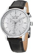 Alexander Wrist Men Black Leather Analog Swiss Chronograph Stainless Steel Watch